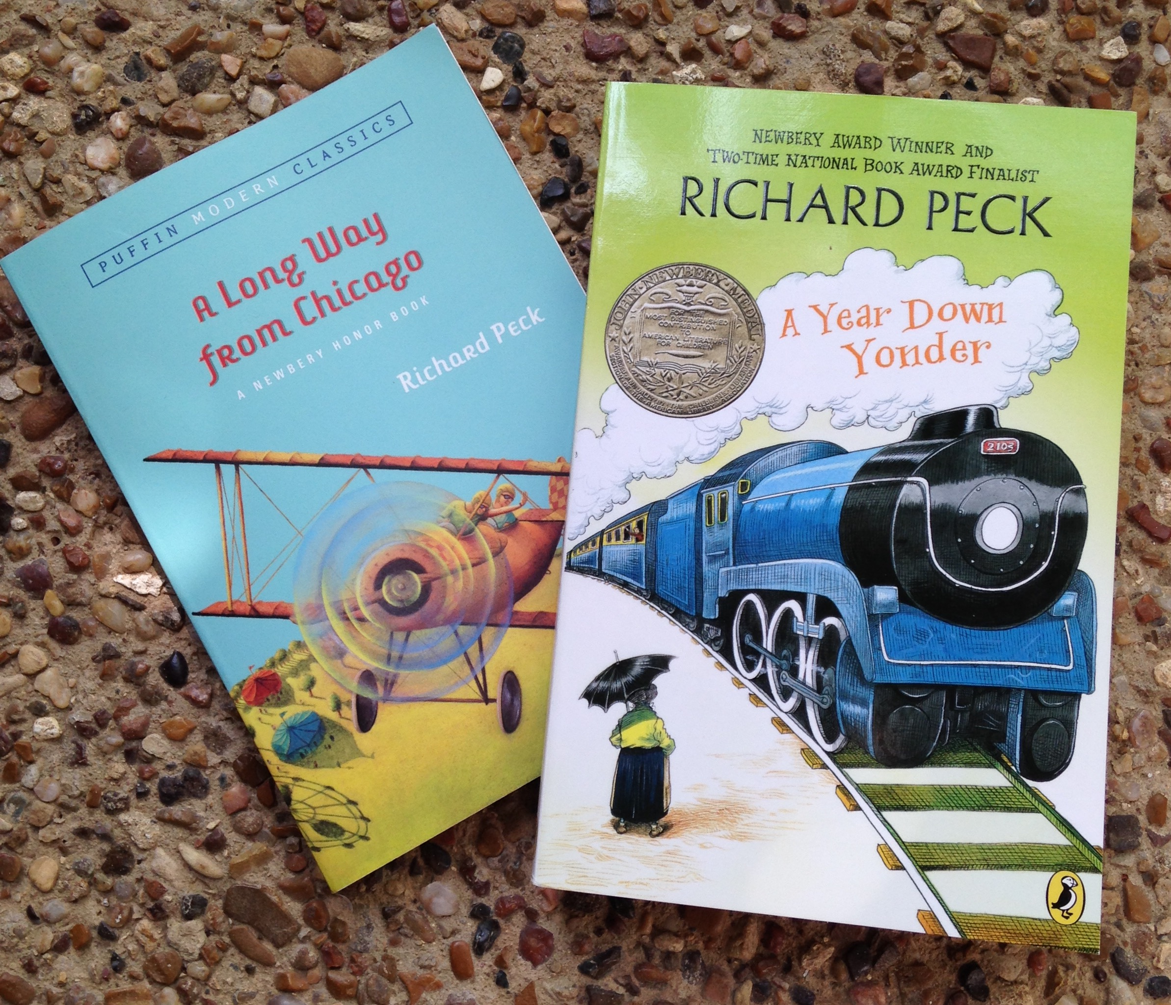 """Reading for fun – to balance the war and intrigue study, we need novels  that make us laugh. We LOVED """"A Long Way from Chicago"""" by Richard Peck.  LOVED IT."""
