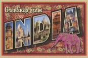 greetings from India postcard